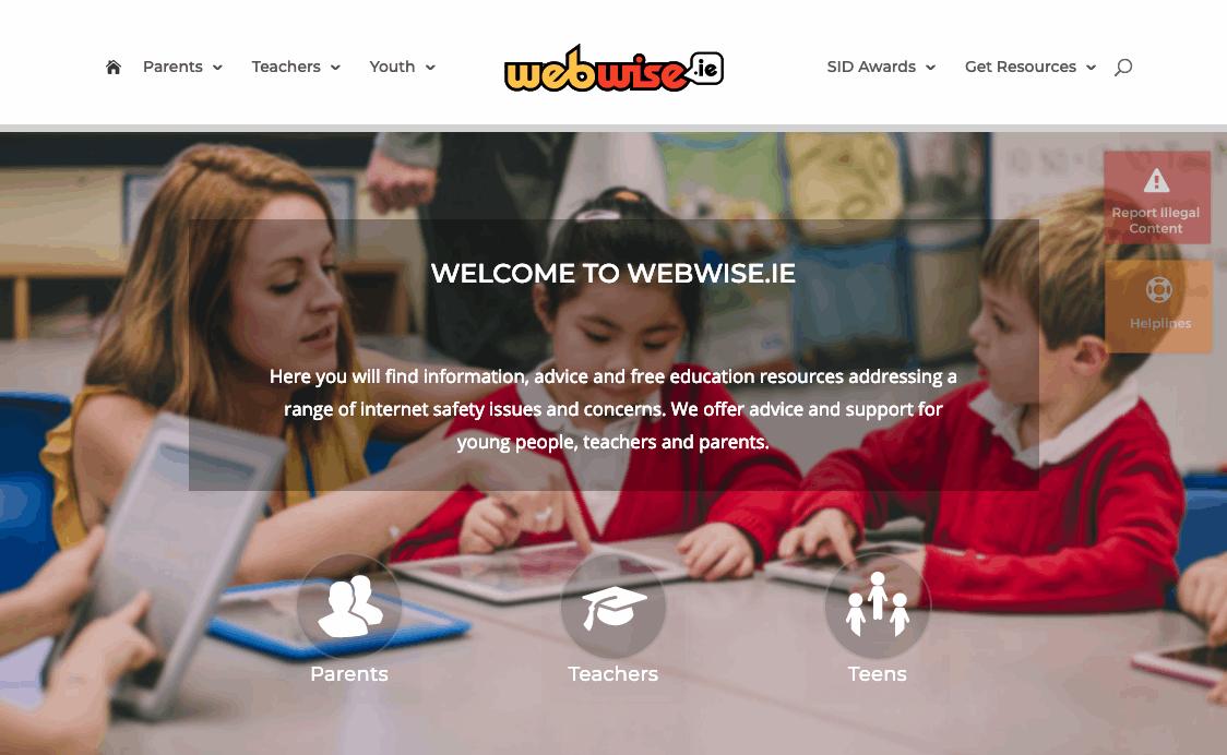 internet safety for parents screenshot of Webwise website